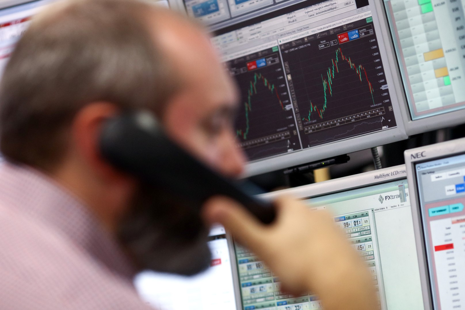 A trader speaks on a fixed line telephone as he monitors financial data on computer screens on the trading floor at ETX Capital, a broker of contracts-for-difference in London, U.K., on Wednesday, Nov. 9, 2016. Donald Trump was elected the 45th president of the United States in a stunning repudiation of the political establishment that jolted financial markets and likely will reorder the nation's priorities and fundamentally alter America's relationship with the world. Photographer: Chris Ratcliffe/Bloomberg