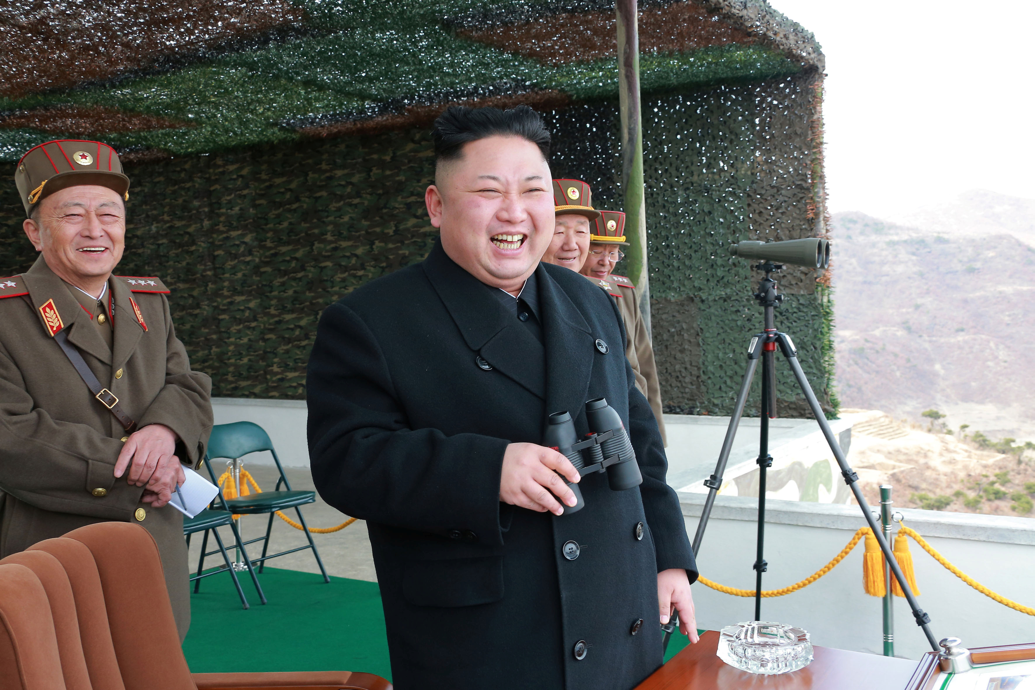 North Korean Leader Kim Jong Un guides the Korean People's Army Tank Crews' Competition 2017 in this undated photo released by North Korea's Korean Central News Agency (KCNA) in Pyongyang on April 1, 2017. KCNA/via REUTERS ATTENTION EDITORS - THIS IMAGE WAS PROVIDED BY A THIRD PARTY. EDITORIAL USE ONLY. REUTERS IS UNABLE TO INDEPENDENTLY VERIFY THIS IMAGE. SOUTH KOREA OUT. NO THIRD PARTY SALES. NOT FOR USE BY REUTERS THIRD PARTY DISTRIBUTORS.Ê - RTX33LZL