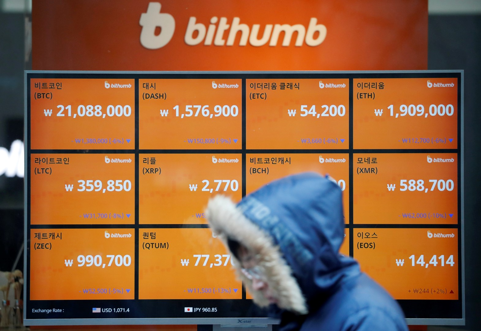 A man walks past an electric board showing exchange rates of various cryptocurrencies at Bithumb cryptocurrencies exchange in Seoul, South Korea, January 11, 2018. REUTERS/Kim Hong-Ji - RC1832348200