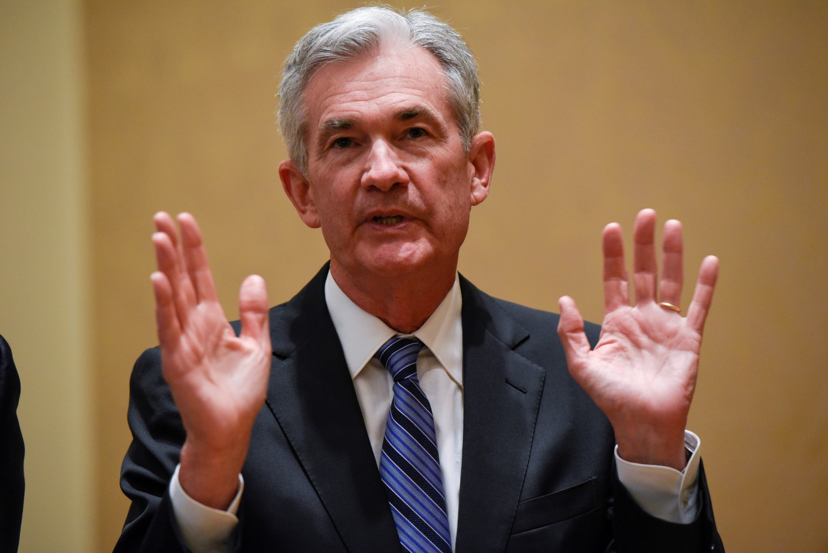 U.S. Federal Reserve Chairman Jerome H. Powell meets with Australian Prime Minister Malcolm Turnbull (not pictured) at the Federal Reserve in Washington, U.S., February 22, 2018. REUTERS/Sait Serkan Gurbuz - RC14708C3000